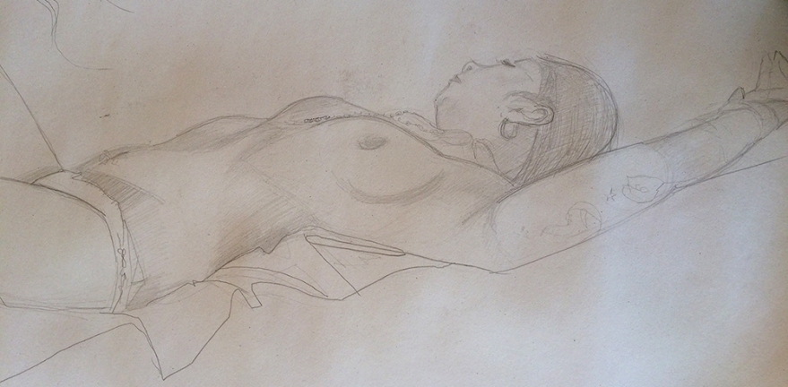 Reclining Female Nude. Pencil on paper. (c) Bethany Moore