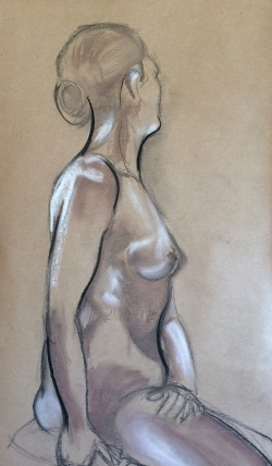 Female Nude. Charcoal and Pastel on brown paper (c) Bethany Moore