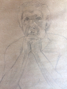 Facial Study. Pencil on Brown Paper (c) Bethany Moore